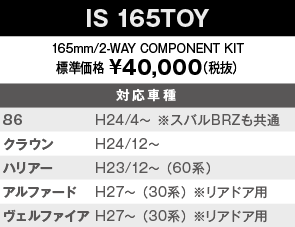 【IS 165TOY】165mm/2-WAY COMPONENT KIT 標準価格 ¥40,000(税抜) 対応車種:86 H24/4~ ※スバルBRZも共通、クラウン H24/12~、ハリアー H23/12~ (60系)、アルファード H27~ (30系) ※リアドア用、ヴェルファイア H27~ (30系) ※リアドア用